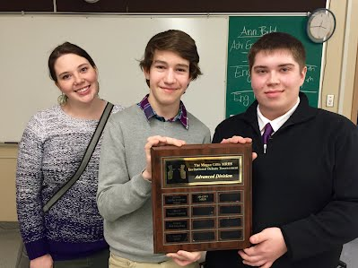 Top team Will Fraser of J.H. Gillis) & Liam Taylor of MRHS (with Kyla Shields).