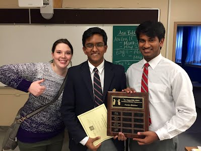 Top novice team Krishshain Nathan & Vaishnaron Somasekaram of King's-Edgehill School (with Kyla Shields).