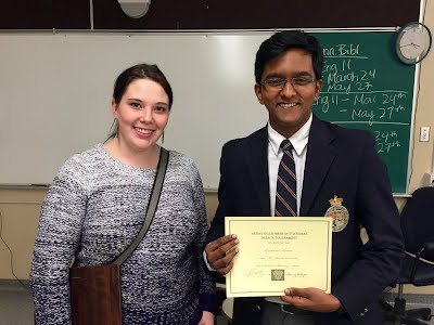 Top novice speaker Krishshain Nathan of King's-Edgehill School (with Kyla Shields).