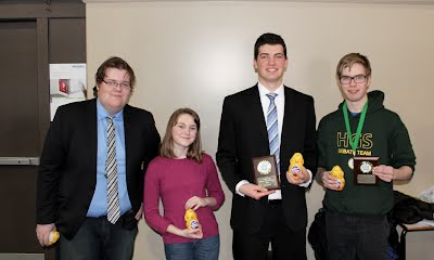 2016 Halifax Grammar School Invitational finalists Hamish Wright (Fredericton High School) & Madeleine Peet (Sacred Heart), winners Will Luton (Fredericton High School) & Jack Farrell (Halifax Grammar).